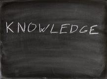 Knowledge. The word knowledge written in chalk on a blackboard stock image