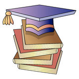Knowledge. Academic hat and books; vector illustration Royalty Free Stock Image