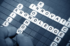 Knowledge. Concept with keywords crosswords stock images