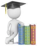 Knowledge. Dude the Student with hat leaning against Books Stock Photography