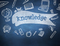 Knowledge against blue chalkboard Royalty Free Stock Photos