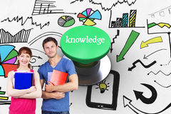 Knowledge against digitally generated green push button Royalty Free Stock Images