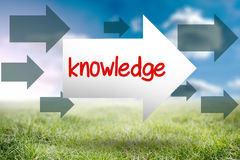 Knowledge against sunny landscape Royalty Free Stock Images