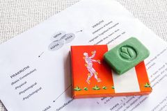 Knowledge of Ayurveda. Close-up of a note with information about an Ayurveda treatment, presentation of the joints of the human body and Ayurvedic Soap royalty free stock image