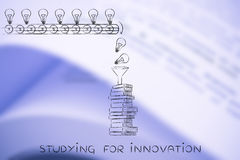 Knowledge being dropped into books, studying for innovation Stock Photo