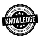 Knowledge Black Round Stamp. Eps10 Vector Badge stock illustration