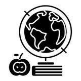 Knowledge - book - apple - globus - globe icon, vector illustration, black sign on isolated background stock illustration
