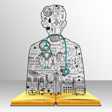 The knowledge from the book becomes a doctor.Medical doodles in a doctor shape with 3d stethoscope.Medicine studies Royalty Free Stock Photos