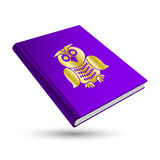 Knowledge book. Violet knowledge book with gold education 3d icon owl Stock Illustration