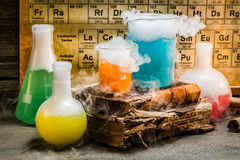 Knowledge of chemistry contained in old books Royalty Free Stock Images