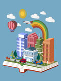 Knowledge city concept. Flat 3d isometric design of knowledge city concept vector illustration