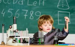 Knowledge concept. Knowledge day. Inspiration for investigations. Kid study biology chemistry. Basic knowledge primary stock photos