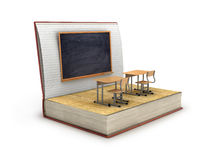 Knowledge concept, school desk and blackboard. With wooden floor and break wall on the open book. 3d illustration Stock Images