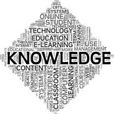 Knowledge concept in tag cloud. Knowledge and e-learning concept in tag cloud on white background royalty free illustration