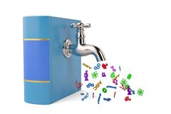 Knowledge concept with water faucet on the old book isolated on. White background 3d illustration royalty free illustration