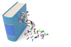 Knowledge concept with water faucet on the old book isolated on. White background 3d illustration vector illustration