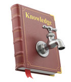 Knowledge concept with water faucet on the old book Stock Photos
