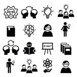 Knowledge, creative thinking, ideas  icons set. Creating theories and ideas, education icons set  on white Stock Images