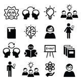Knowledge, creative thinking, ideas  icons set Stock Images