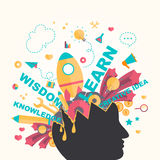 Knowledge and creativity icons flow from a man head in infograph. Ic design, create by vector Royalty Free Stock Image