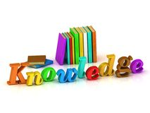Knowledge - 3d inscription bright volume letter Stock Photos