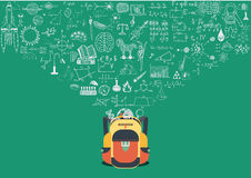 Knowledge doodle flowing into school back. Back to school concept. Royalty Free Stock Images