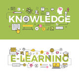 Knowledge and E-Learning Concept Vector Banners. Knowledge and e-learning vector banners. Set of scientific, web and educational line icons and symbols. Concept stock illustration