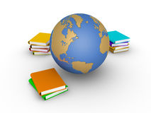 Knowledge of earth in books Royalty Free Stock Images