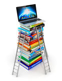 Knowledge and education concept. Creative abstract knowledge and electronic online internet web education business office concept: stack of color hardcover books vector illustration