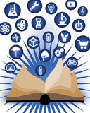 Knowledge and Education Learning. An open book of knowledge and learning opens revealing icon images stock illustration
