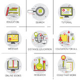 Knowledge Elearning Education Online Icon Set Search Research Business Idea Concept Stock Photography