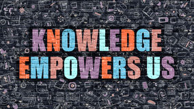 Knowledge Empowers Us Concept with Doodle Design Icons. Stock Photo