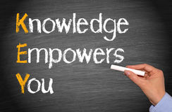 Knowledge empowers you. Hand of woman writing knowledge empowers you, key, on blackboard or chalkboard Stock Photo