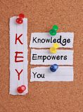 Knowledge Empowers You and KEY Acronym Royalty Free Stock Photo
