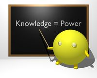 Knowledge equals Power. A 3d illustration of a teacher explaining that Knowledge equals Power using a blackboard Stock Photo