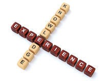 Knowledge and Experience wooden crosswords Royalty Free Stock Photo