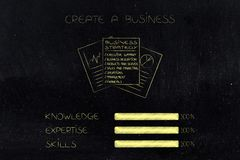 Knowledge expertise and skills progress bars at 100 per cent nex. Knowledge expertise and skills conceptual illustration: progress bars at 100 per cent next to Royalty Free Stock Photo