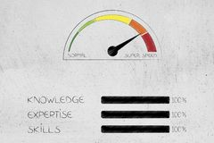Knowledge expertise and skills progress bars at 100 per cent nex. Knowledge expertise and skills conceptual illustration: progress bars at 100 per cent next to Royalty Free Stock Photography