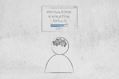Knowledge expertise skills loading pop-up message above person w. Genius mind conceptual illustration: knowledge expertise skills loading pop-up message above vector illustration