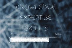 Knowledge expertise and skills text with progress bar loading stock illustration