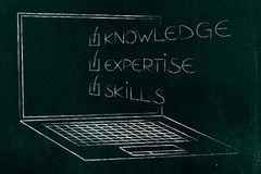 Knowledge expertise skills ticked off caption popping out of lap. Top screen, concept of online education stock illustration