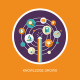 Knowledge grows concept in falt design Royalty Free Stock Images