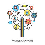 Knowledge grows concept. In flat line style stock illustration