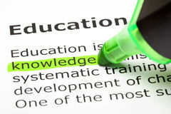 'Knowledge' highlighted in green Stock Photos