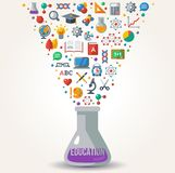 Knowledge Icons fly out from Tube. Concept of Learning. Vector illustration. Education Concept Art. Back to School Background. Learning process Stock Photo