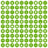 100 knowledge icons hexagon green. 100 knowledge icons set in green hexagon isolated vector illustration Stock Image