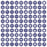 100 knowledge icons hexagon purple. 100 knowledge icons set in purple hexagon isolated vector illustration Royalty Free Stock Photo