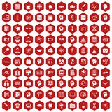 100 knowledge icons hexagon red. 100 knowledge icons set in red hexagon isolated vector illustration Royalty Free Stock Photo