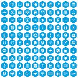 100 knowledge icons set blue. 100 knowledge icons set in blue hexagon isolated vector illustration Vector Illustration