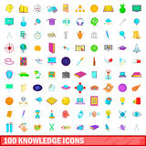 100 knowledge icons set, cartoon style. 100 knowledge icons set in cartoon style for any design vector illustration Stock Photography
